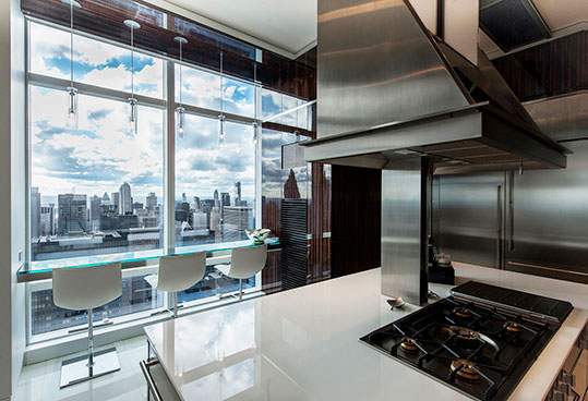 NYC luxury apartment glass bar